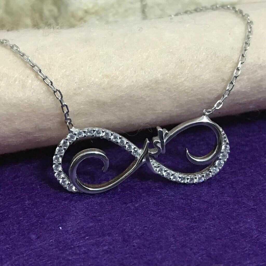 Sonsuzluk içinde aşk yazılı üzeri rodaj kaplamalı gümüş kolye
